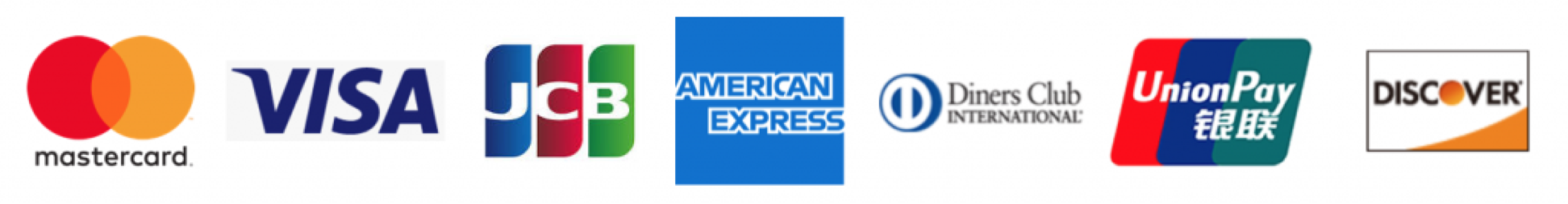 mastercard VISA JCB AMERICAN EXPRESS DinersClub UnionPay DISCOVER